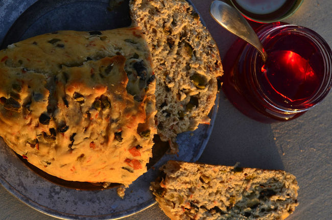 artisan made savoy olive loaf bread and artisan made sweet cactus fruit jelly Homemade Food Morning Light Artisan Bread Artisan Jelly Bread Bread Loaf Cactus Fruit Cactus Fruit Jelly Healthy Eating Healthy Food Jelly Olive Bread Olive Loaf Organic Food Still Life Still Life Food