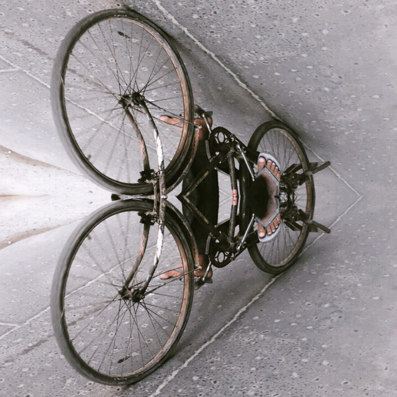 Personal Perspective Low Angle View Diminishing Perspective Low Section Mode Of Transport Close-up The Way Forward Bicycle Cycle Tyre Perspective Changes Everything Life