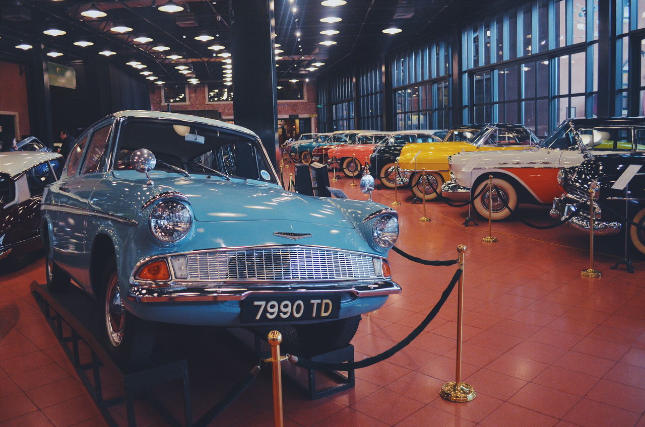 Car Car Collection City City Life Day Ford Illuminated Modern Museum No People Parked Parking Parking Lot Stationary