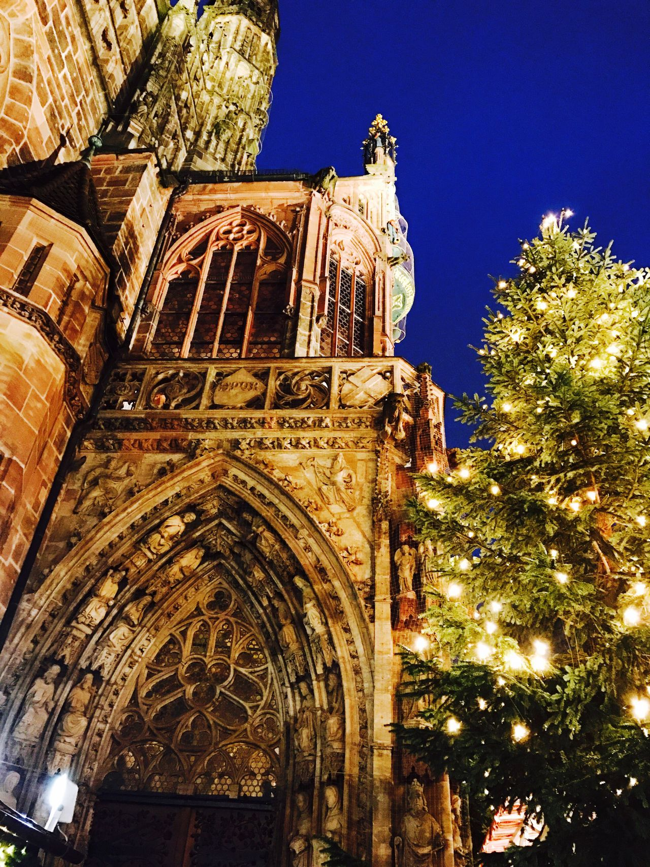 Religion Architecture Built Structure Spirituality Low Angle View Tree Outdoors Sky Building Exterior Mypointofview Mylifethroughmyeyes Christmas Tree Christmas Lights Christmas Around The World Christmas Is Coming Traveling Travel Photography Travellover Passionforphotography Pictureoftheday EyeEm Gallery EyeEm Best Shots - Architecture Tagsforlikes Christmas Market in Nürnberg Germany