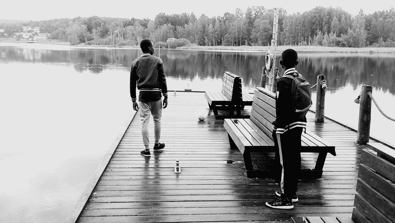Finland Hämeenlinna Family❤ Brother Stand Up Posture Pose Lake Black And White