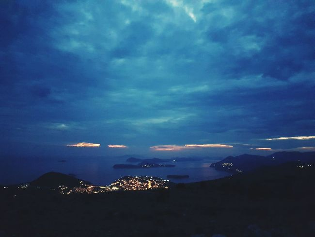 Dubrownik Sea Sky Cloud - Sky Blue Aerial View Water Travel Destinations Night Time Hill Top Horizon Over Water