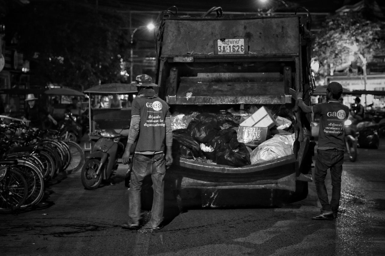 night, transportation, abandoned, real people, men, outdoors, people