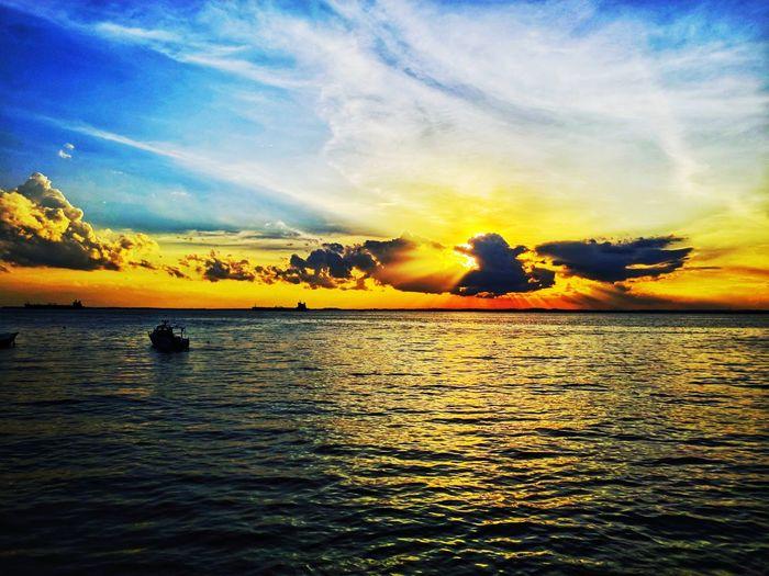 beautiful sunset Sunset Sky Nature Silhouette Scenics Beauty In Nature Cloud - Sky Water Outdoors Sea