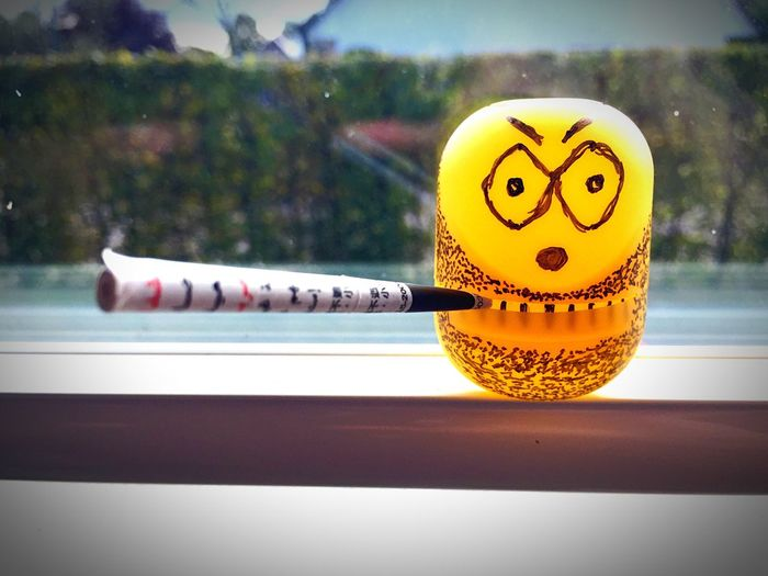 Yellow Focus On Foreground No People Creativity Vibrant Color Minion  Cigarette Time Figure Cigarette Break Bad Boy  Indoors  Bad Mood Bad Day Minions Cigar Cigarette  Creativity überraschungseier überraschungsei Kinder Egg Surprise Surpresa Kinder Kinder Egg IMography IPhoneography