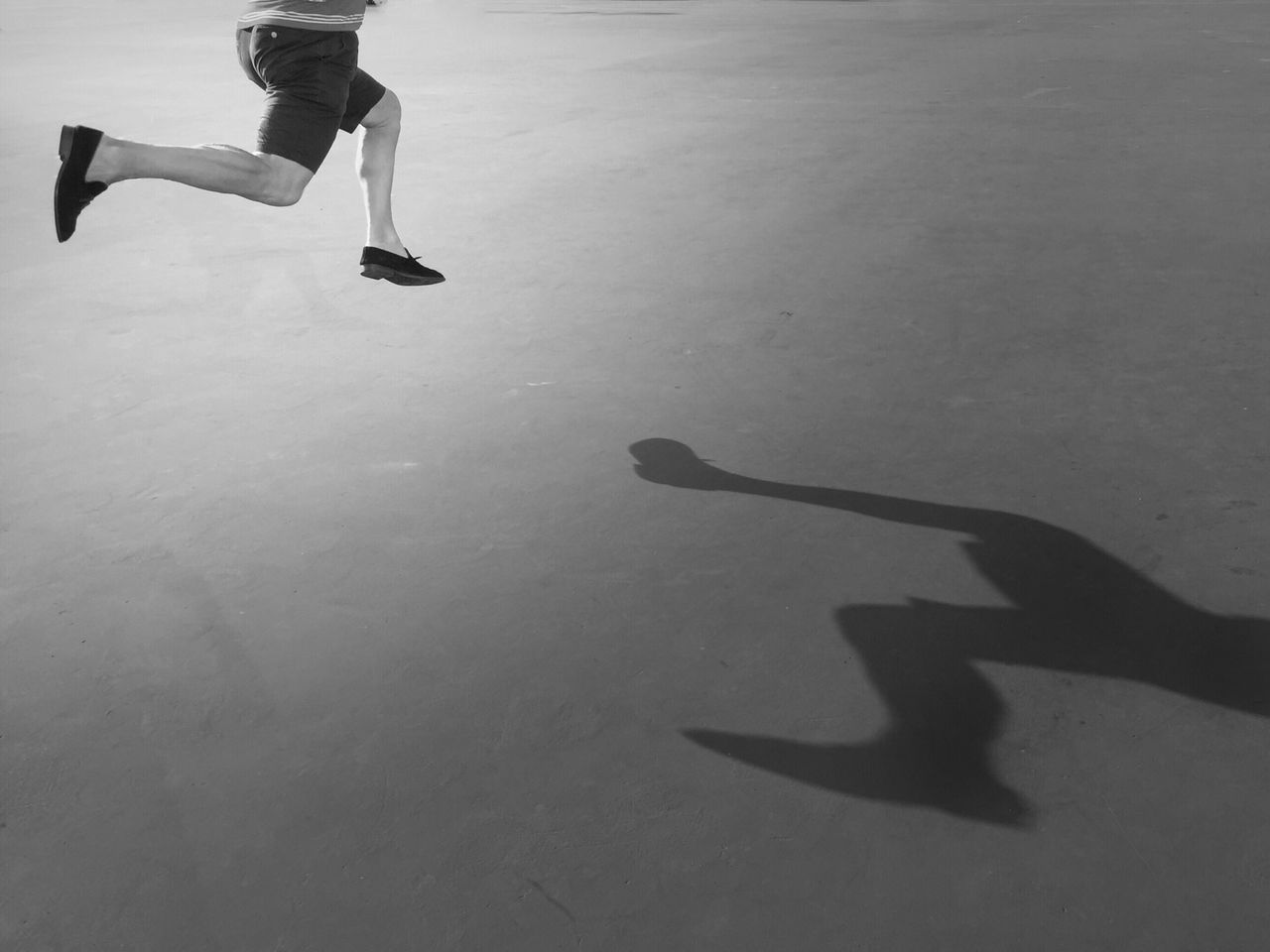 Jumping Shadow IPhoneography Perspective Blackandwhite Happy Jumper And His Shadow The Way I'm Seeing It...... Having Fun Light And Shadow Light New Years Resolutions 2016 Move Better Look Twice
