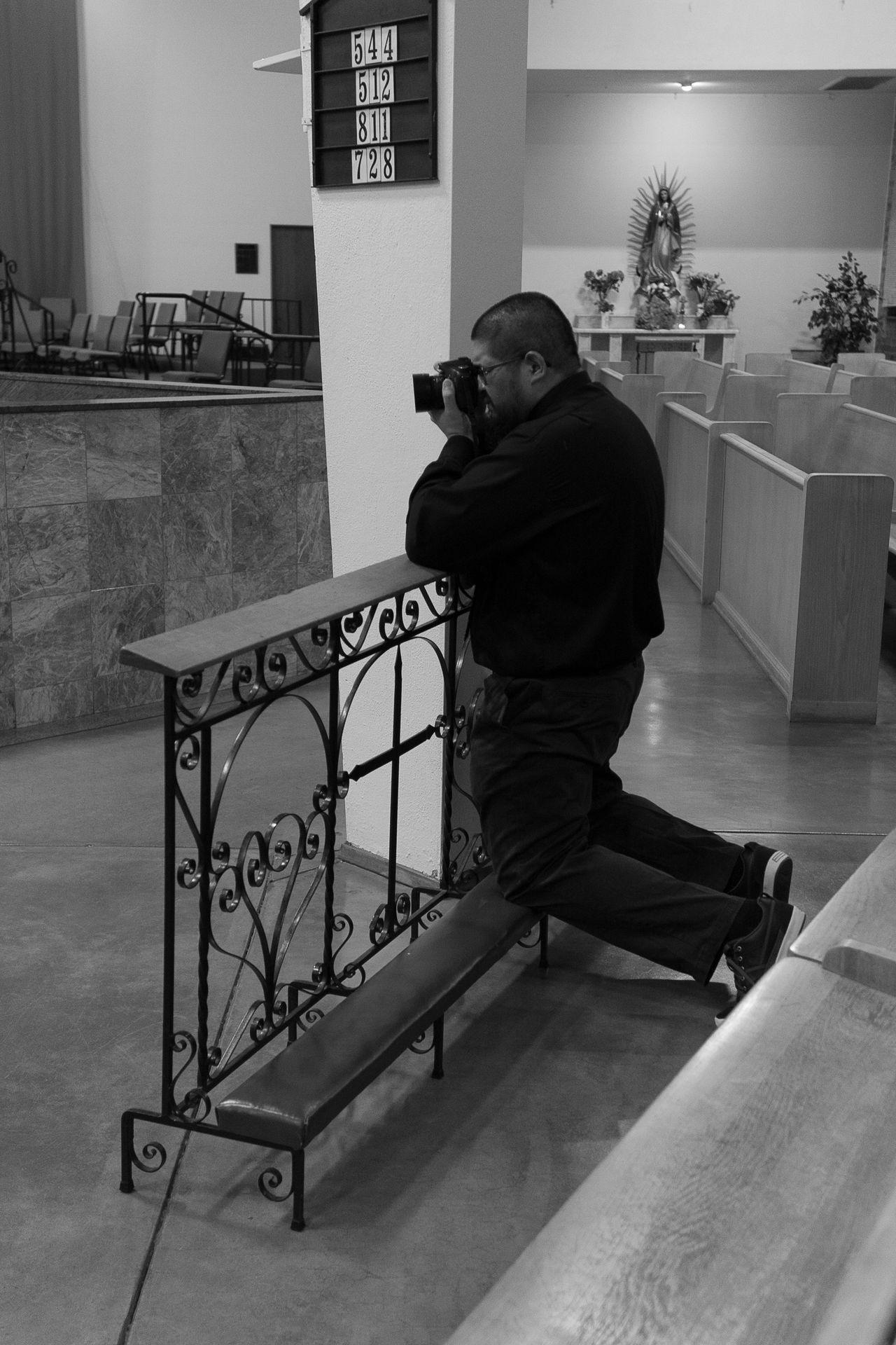 Praying to his own god. Absence Alltogether Behindthescenes Blackandwhite Ceiling Churchporn Flooring GodIsDead Hedidwhathewants Herewegoagain Hobbies Indoors  Inside Things Leisure Activity Metal Myhusband Occupation Outofplace Photography Preying Railing Secretshot Technology Tucson Arizona  Wall