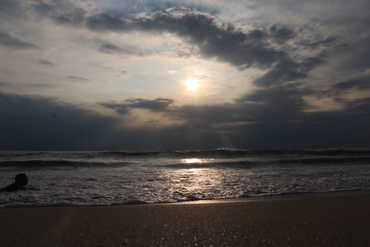 EyeEmNewHere Sea Beach Sun Sunlight Sunset Scenics Tranquility Sky Beauty In Nature Horizon Over Water Sunbeam Water Nature Tranquil Scene Cloud - Sky No People Outdoors Wave Day The Photojournalist - 2017 EyeEm Awards Leisure Activity Standing Lifestyles Landscape