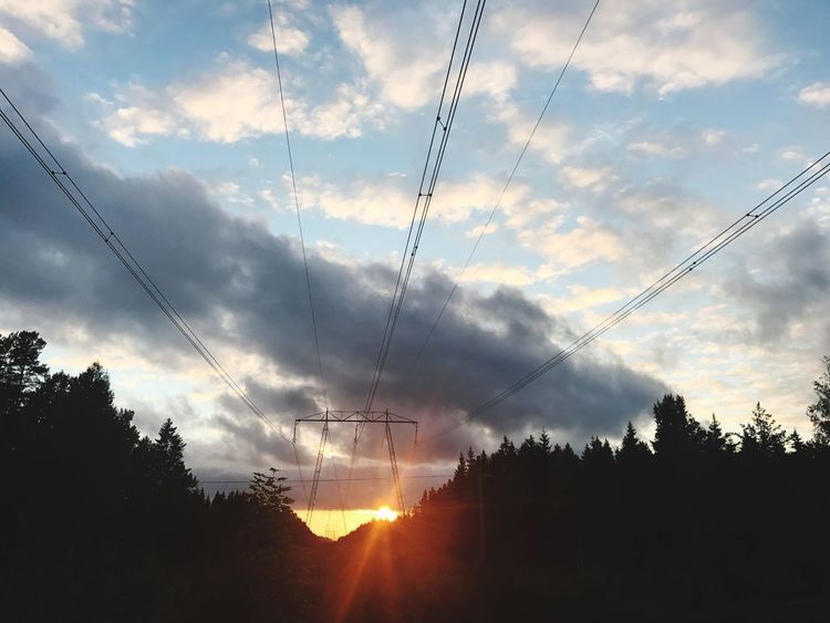 Cable Power Line  Sky Silhouette Power Supply Electricity  Tree Sunset Low Angle View Nature Electricity Pylon Cloud - Sky No People Connection Beauty In Nature Scenics Tranquil Scene Fuel And Power Generation Outdoors Vapor Trail