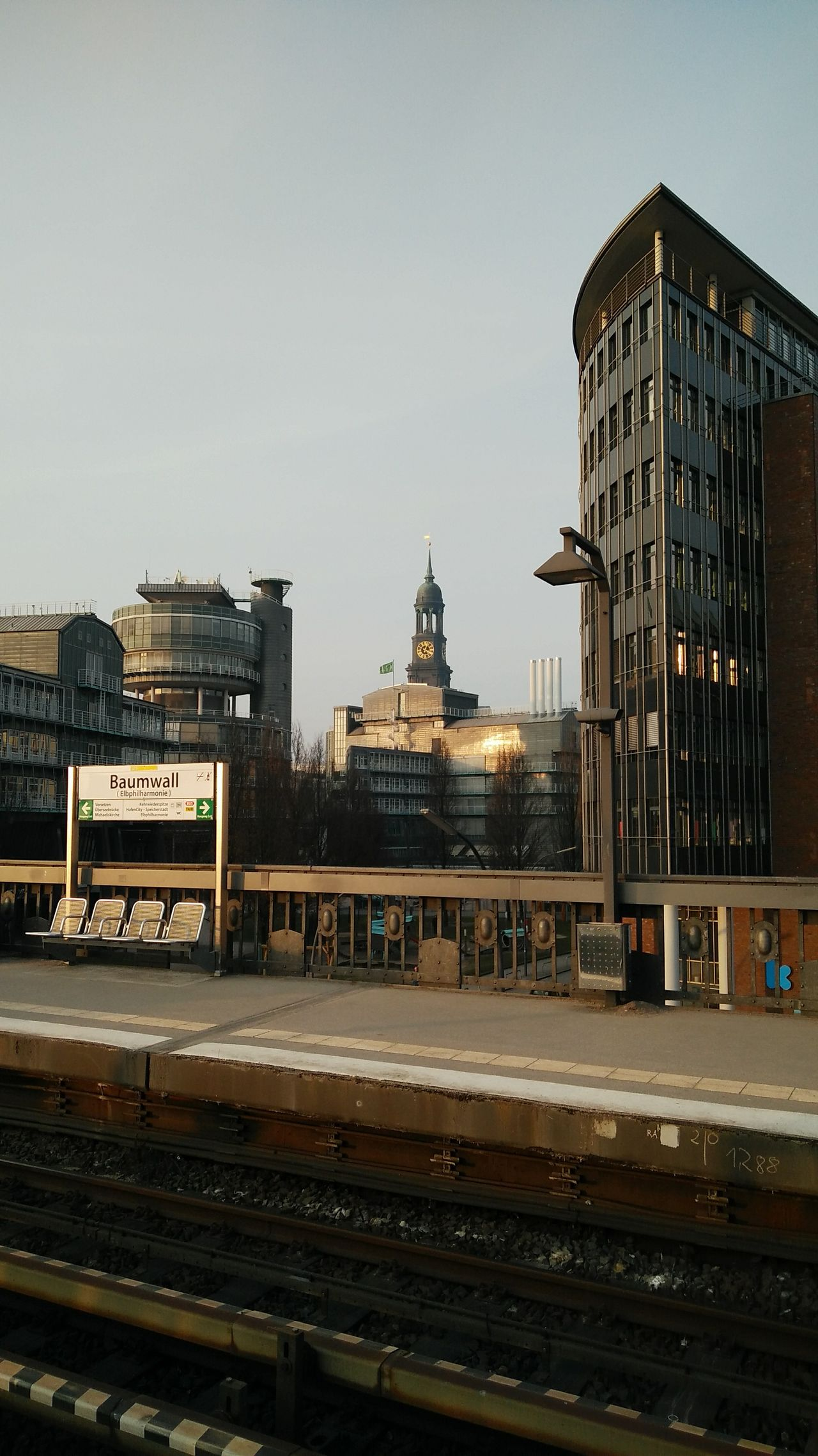 Baumwall with view at the Michel. · Hamburg Germany 040 Hh Hamburgmeineperle Hanseatic Architecture Urban Landscape Cityscape Metro Stop Metro Station Early Morning Morning Light