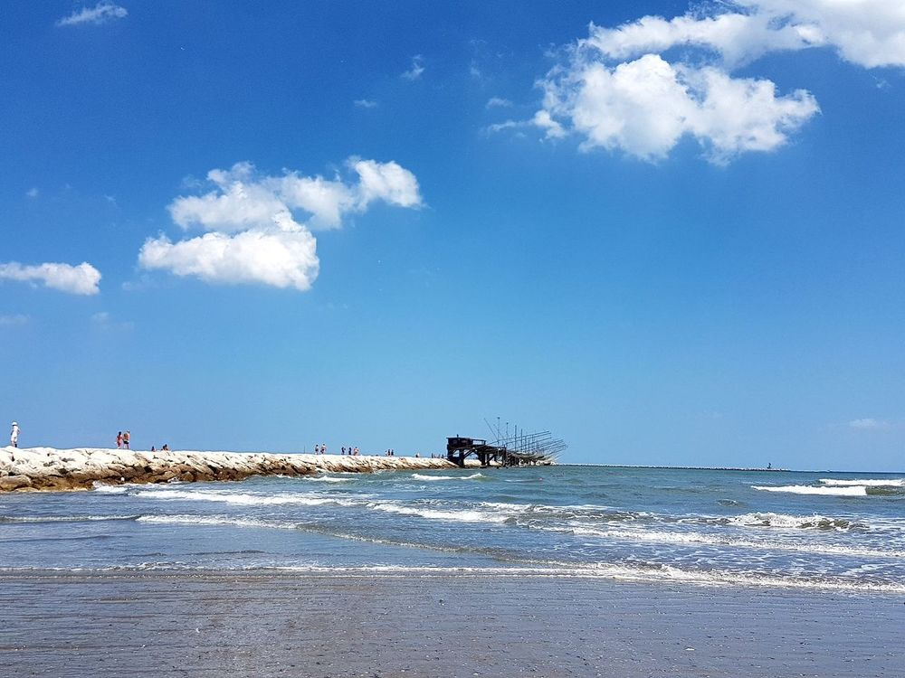 Sea Beach Cloud - Sky Sky Blue Water Day Nature Outdoors People Horizon Over Water Beauty In Nature Chioggia, Italy
