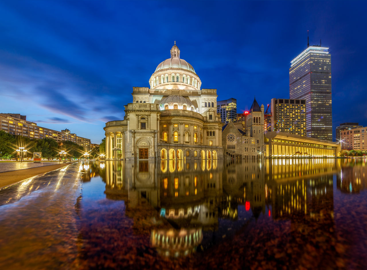 Christ Church Architecture Building Exterior Christ Christianity Church City City Street Cityscape Dome Dusk G History Illuminated Night Reflection Religion Religios Places Sacred Places Sky Street Sunset Tower Travel Destinations Urban Skyline Worship