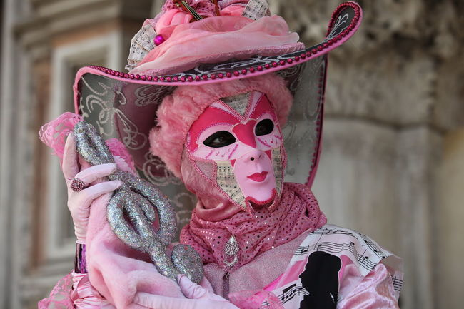 Carneval Carnevale Di Venezia Mask Mask - Disguise Pink Color Stage Costume Venice