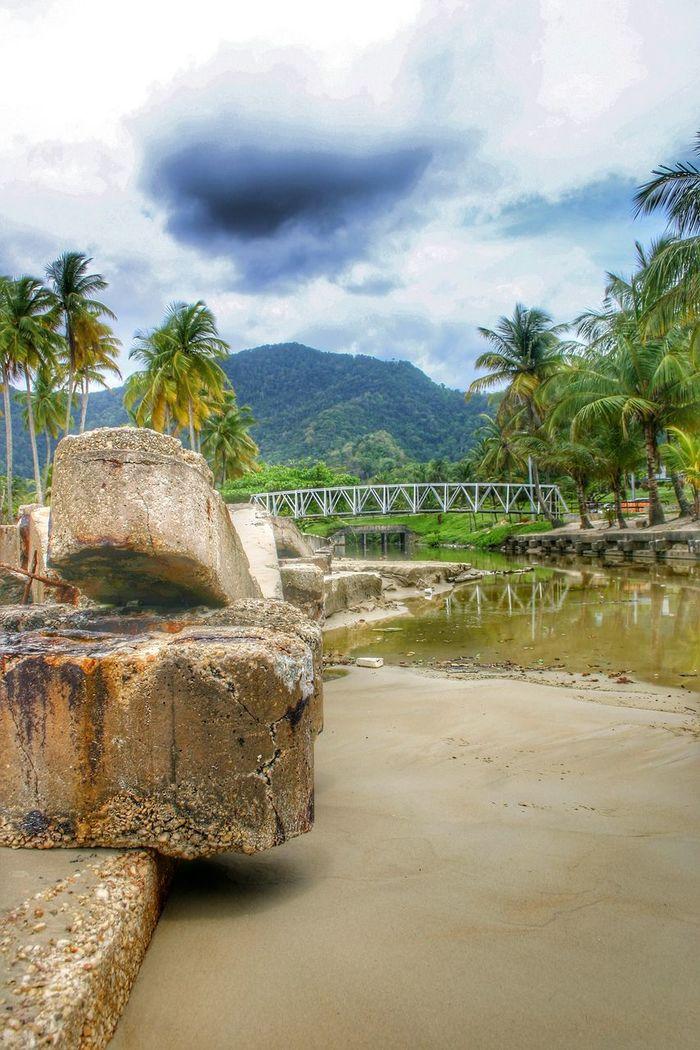 Hdrphotography Hdr Photography Canonphotography Trinidad And Tobago Maracas Maracas Beach Mountains And Sky Bridge Coconut Trees