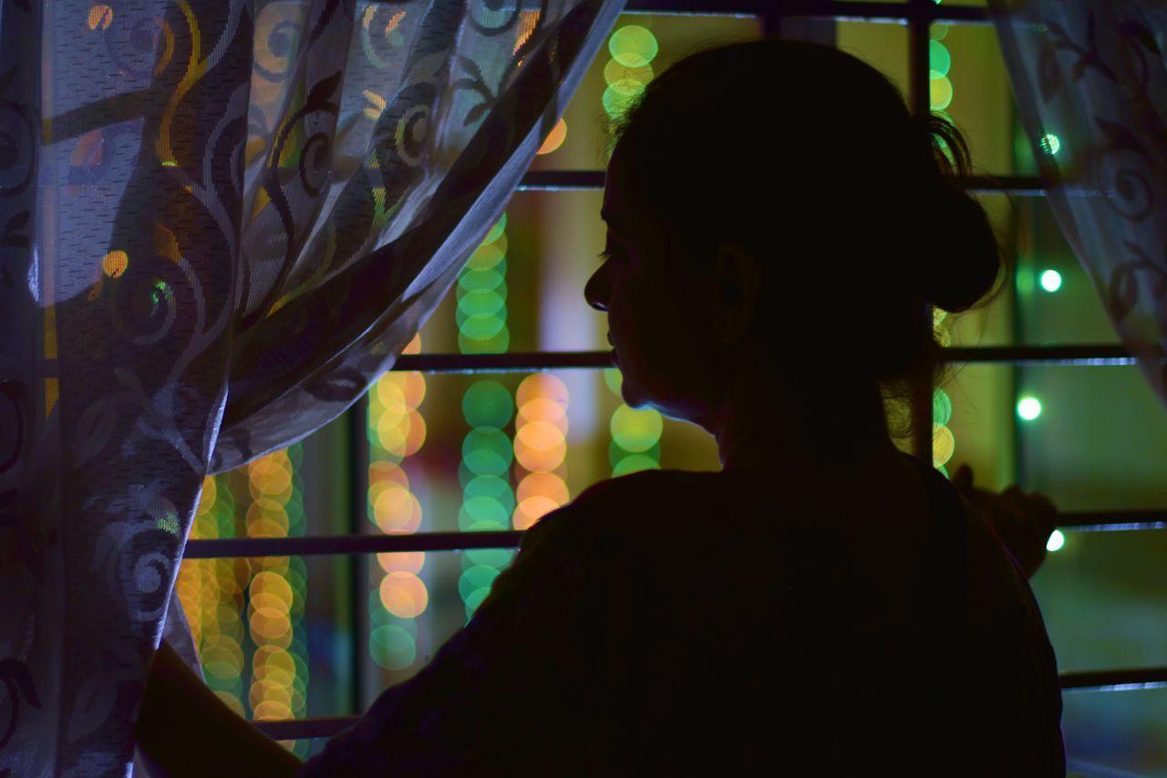 Alone Lights Silhouette Woman bohkeh sadness silence thinking about life