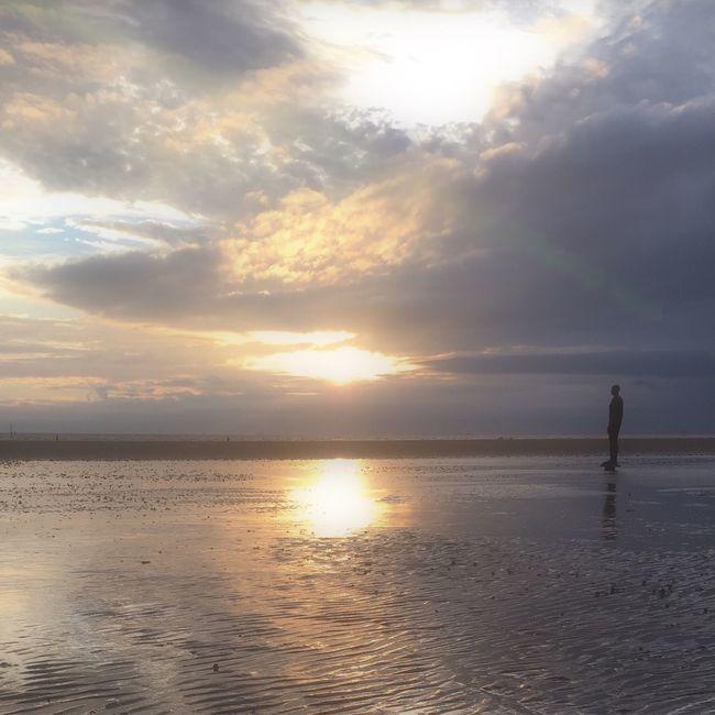 """Beach scene"" Beachphotography IronMen Crosby Beach Liverpool, England Sunset Nature_collection"