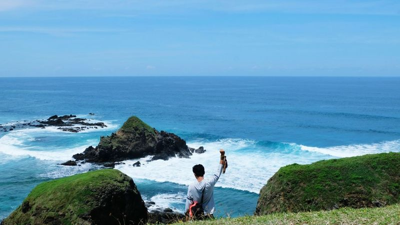 Lombok again... Sea Horizon Over Water Beach Water High Angle View Wave One Person Vacations Nature Outdoors Day Standing Leisure Activity Men Summer Sunlight Fun