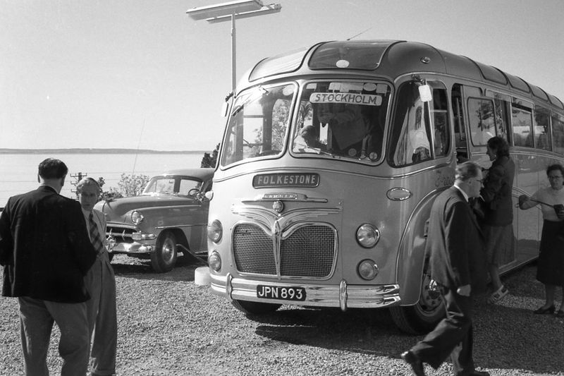Busstop People Folkestone Stockholm Sweden United Kingdom Trip Traveling Chevy Bus ? ©grandfatherphoto 1954
