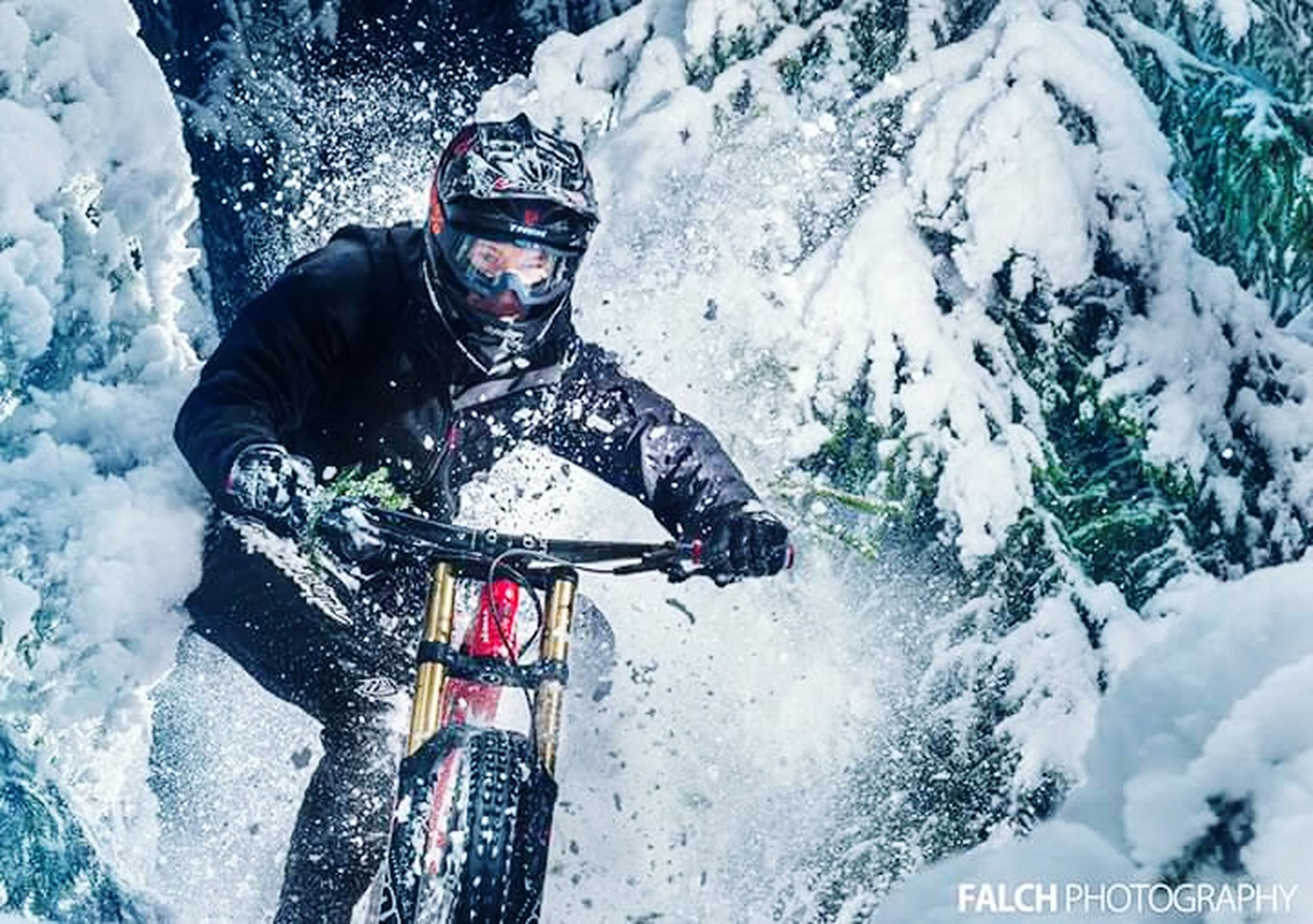 winter, cold temperature, lifestyles, snow, leisure activity, water, high angle view, weather, season, mountain, nature, rear view, covering, men, day, frozen, full length, tranquility