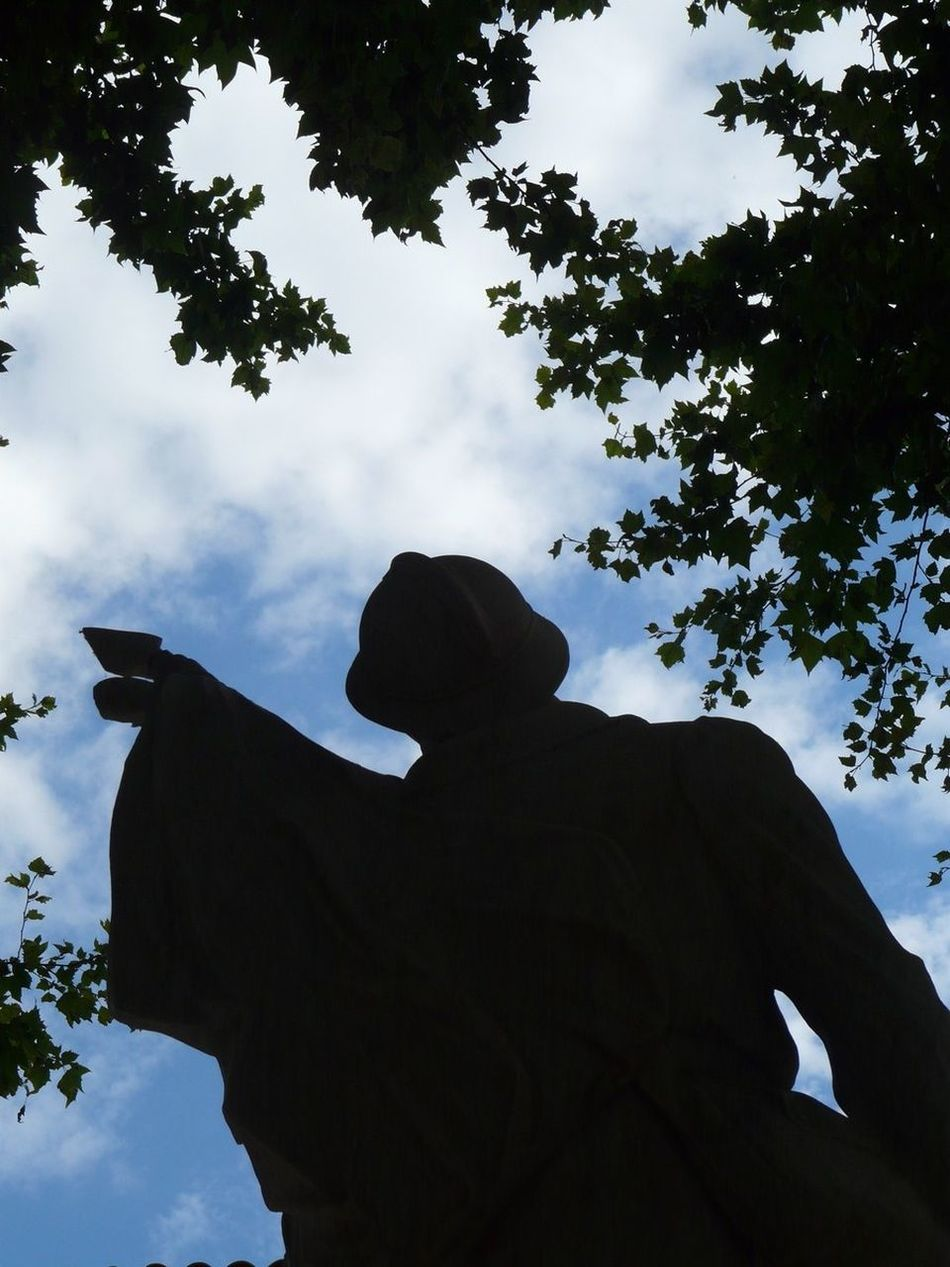Statue Soldier Sky Blue Silhouette