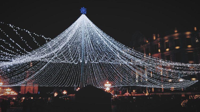Night Celebration Christmas Tree Christmas Christmas Decoration Christmas Lights Outdoors Illuminated Christmas Ornament Tree Topper No People Sky Christmas Market Tree