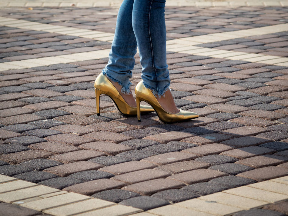 Beautiful stock photos of shoe, Day, Denim, Fashion, Gold Colored