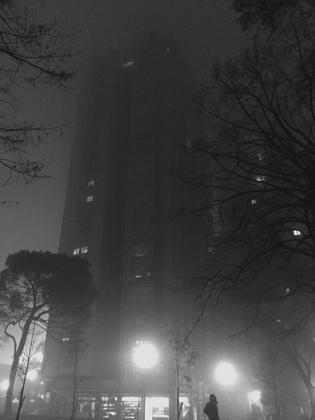 Fog, lights and shadows Seeing The Sights Nightphotography Night Lights Blackandwhite Showcase: November Fog In The Trees Shades Of Grey Urban Landscape Monochrome Eye4blackandwhite Urban Lifestyle