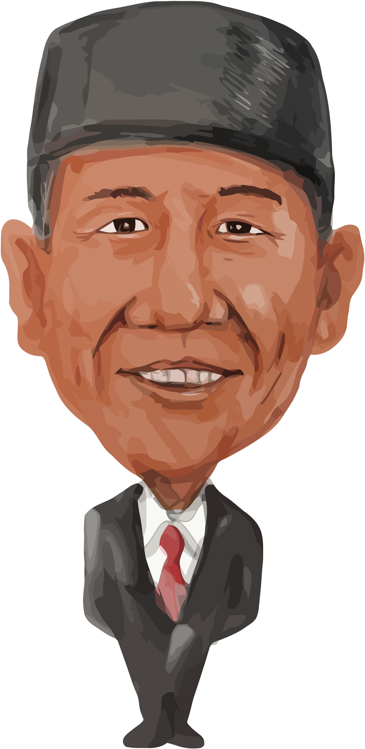 Water color caricature illustration of the Prime Minister of Indonesia, Joko Widodo also known as Jokowi facing front done in cartoon style. Caricature Cartoon Front Human Face INDONESIA Joko Widodo Jokowi One Person Prime Minister Water Color White Background