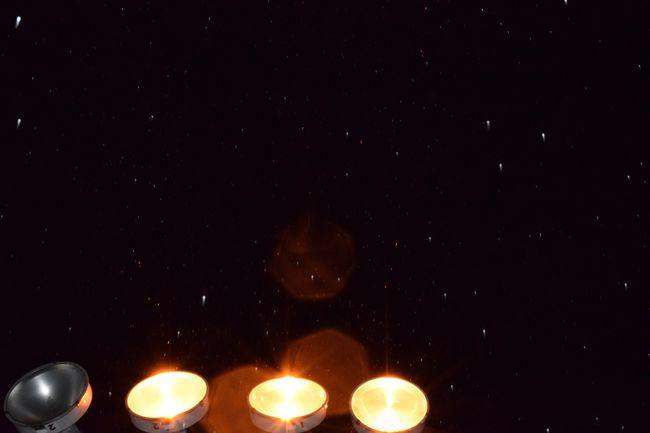 Lights Lamp Post Snow Sleet Glair Orange Sky Night Black White