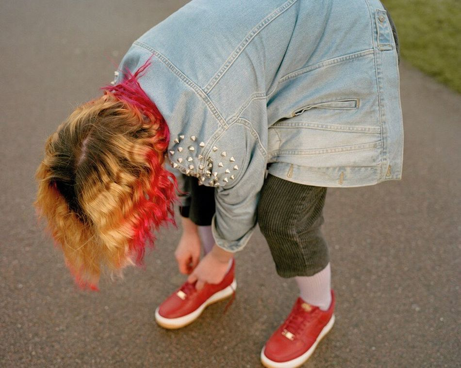 Alice 16, Suffolk 2016 Pink Trainers Ombre Hair Dyed Hair Outdoors Youth Culture Denim Friendship Hometown Suffolk Burystedmunds Countryside Countryside Life Teenager Portrait Laughing Funny Young People Shoelaces
