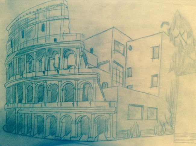 Antiquité moderne Coloseum Le Corbusier Art Drawing Geometric Shapes
