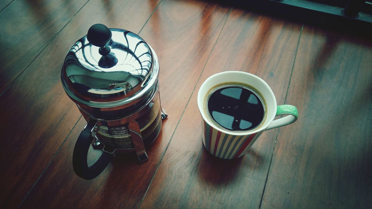 Coffee Black French Press Wood Floor Breakfast