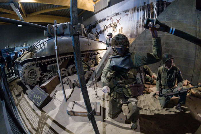 Overlord Museum, Colleville-sur-mer, Normandy, France, July 2017 D-Day II War World. Overlord Museum Soldiers American Soldiers Army Army Soldier Exhibition Exhibits Exposure Helmet Military Museum Omaha Beach Overlord Sherman Tank Tank Teamwork