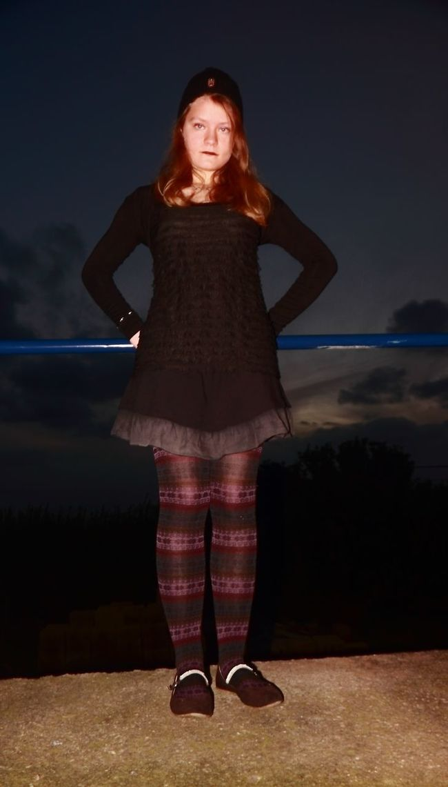 Gothic Girl Bar Black Is Beautiful Blue Cloud - Sky Colorfull Colors And Patterns Concrete Floor Full Length Portrait Girl Model Gothic Girl Gothic Style Legging Patterns & Textures Striped Pattern Sunrise And Clouds