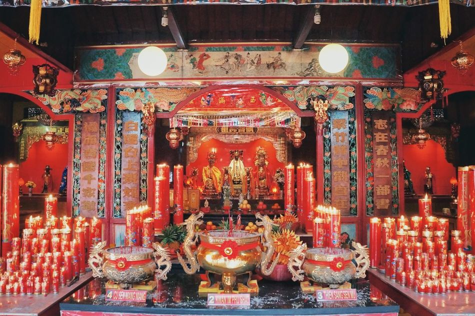 Architecture Indoors  Place Of Worship No People Travel Destinations Cultures Red Gongxifacai  Chinnese at Banjarmasin INDONESIA