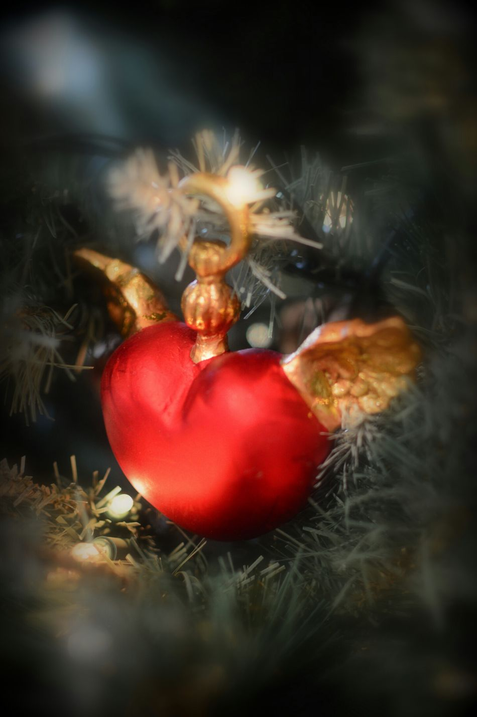 """""""On the first day of Christmas my true love gave to me, 1 gold winged heart. """" :) ♥ ♥ ♥ Heart Heart ❤ Hearts Christmas Decorations Xmas Christmas Tree Gifts ❤ Special Gift"""