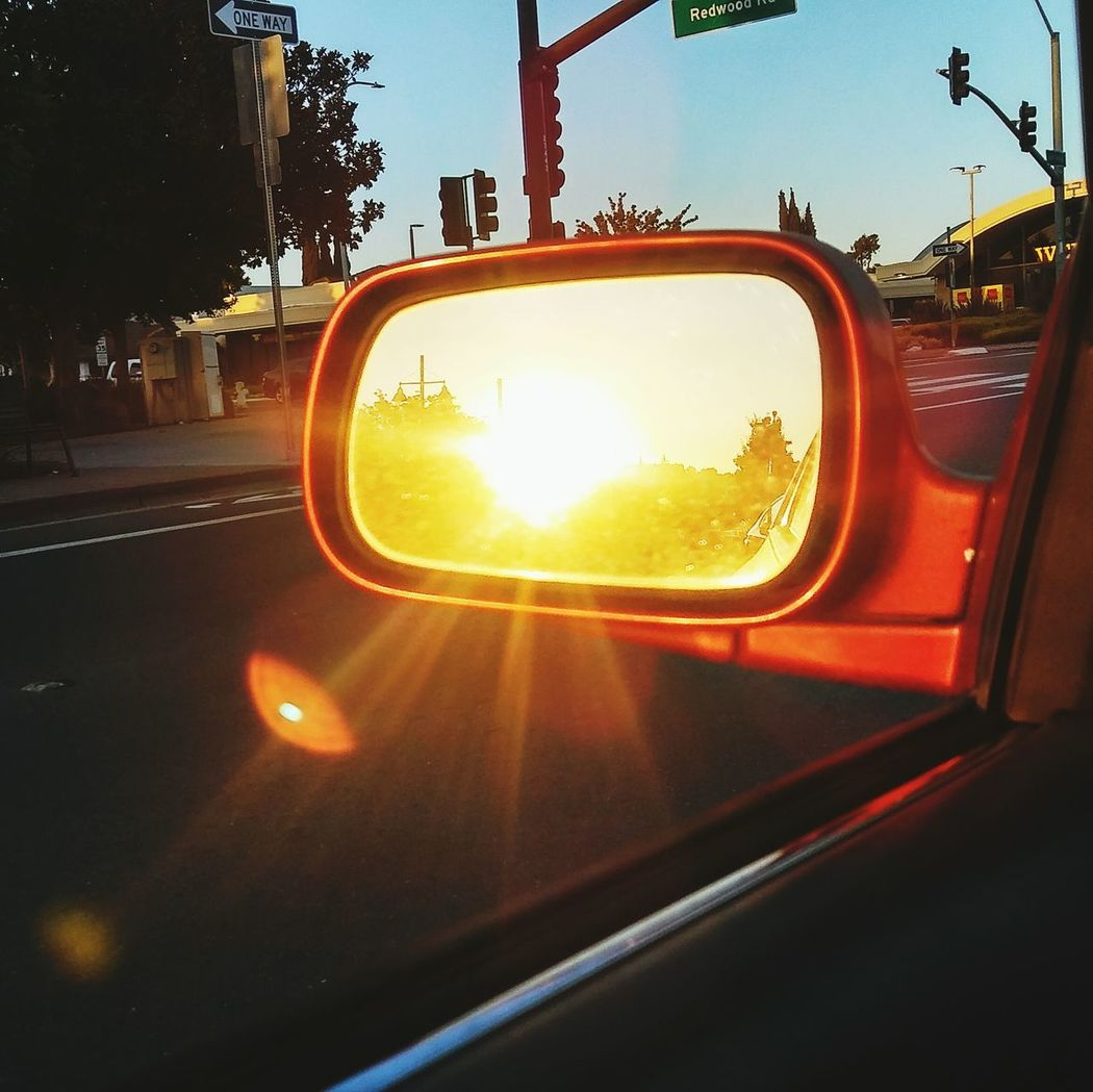 Car Sunset Travel Transportation Sun Sunlight No People Sky Day Sunbeams Sideviewmirror Sideview Mirror Sideviewmirrorshots