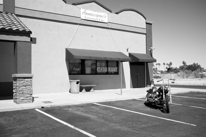 phoenix landscapes Always Summer Arizona Landscape B&w Street Photography Biker Bar Biker Life Black And White Building Facade Built Structure Contemporary Photography Daytime Desert Beauty Dive Bar Harsh Light Monochrome New Topographics Newtopographics No People Parking Lot Scorching Heat Street Photography Strip Mall Motorcycle Cruiser