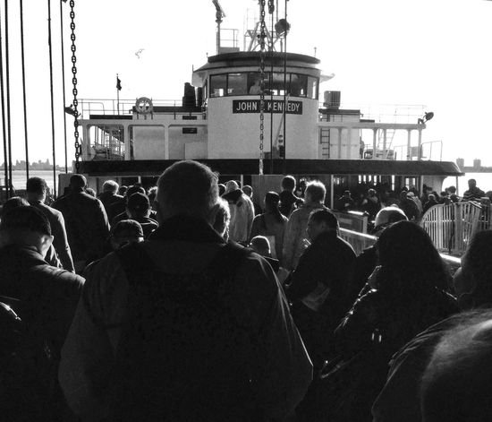 Teaming Masses Commuting NYC Staten Island Ferry Black And White