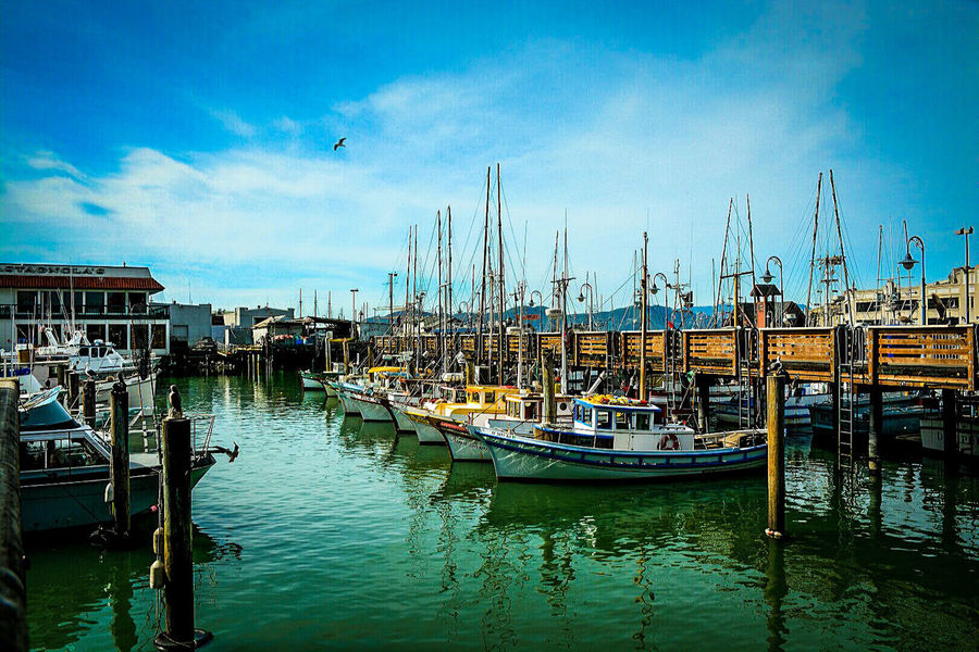 At the docks... Photography Is Life Color Photography Photography Lovers Beautiful Camera Love Photo Art Photooftheday San Francisco The Pier Boats And Clouds Boats Clouds And Sky Waterscape