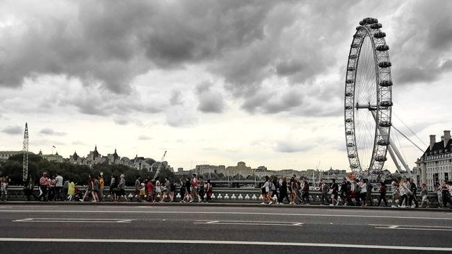 Black And White Blackandwhite Bridge City Colours Day Horizontal London London Eye Outdoors People Road Street Thames Walking Westminster Westminster Bridge