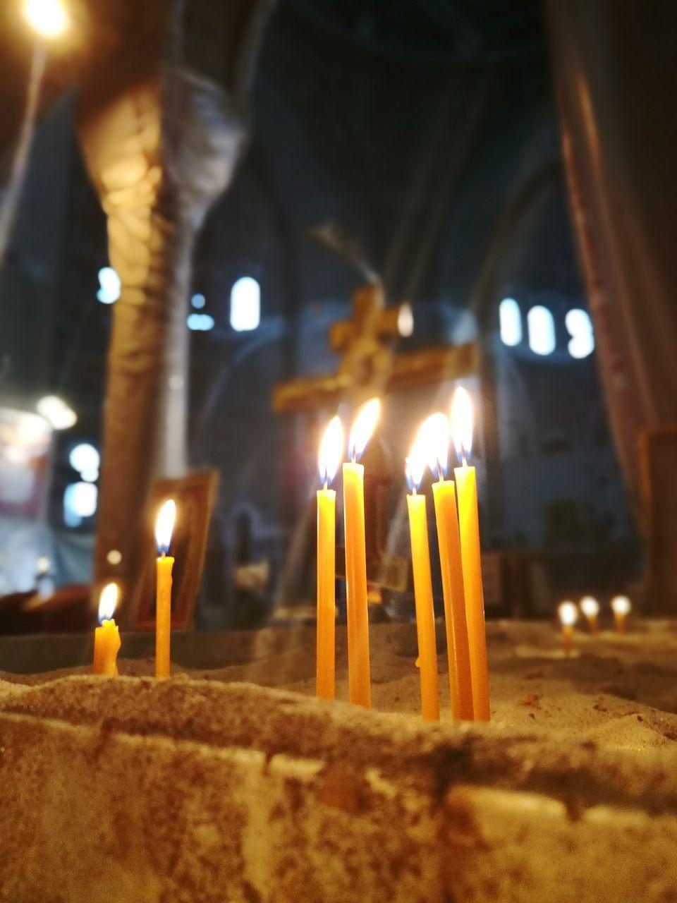 candle, flame, burning, glowing, indoors, illuminated, heat - temperature, religion, spirituality, celebration, place of worship, no people, close-up, night, yellow, altar