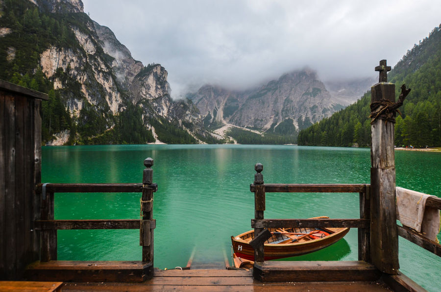 Boat Braies Braies Lake Fog Forest Green Color Lake Mountain Mountain Range Outdoors Rain Scenics Südtirol Trentino Alto Adige Valley Water