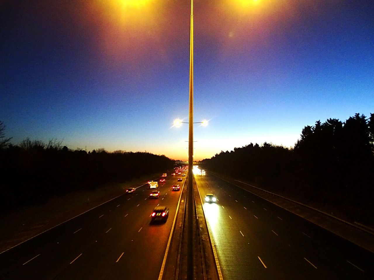 Morning Sky Motor Way M40 Freeway Transportation Road Highway Illuminated Mode Of Transport Coloured Sky SplitScreen Down The Middle EyeEm Best Shots EyeEm Getty Collection Tranquility Popularphoto Gettyimagesgallery Eyeem Market Modern
