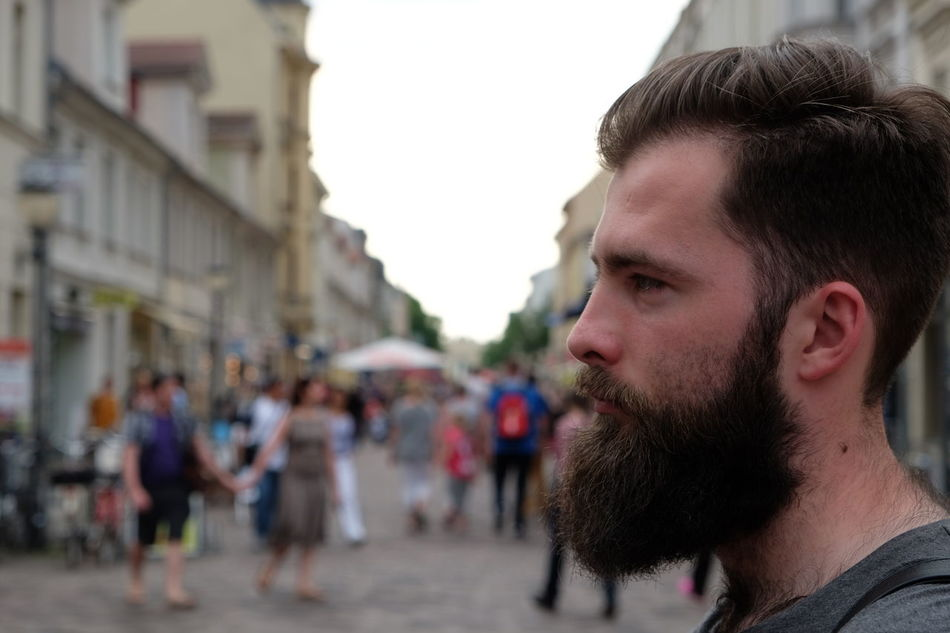 Mateusz and his Beard. Focus On Foreground Hairy  HEAD Side Portrait Men Vanishing Point Outdoors Street Photography via Fotofall