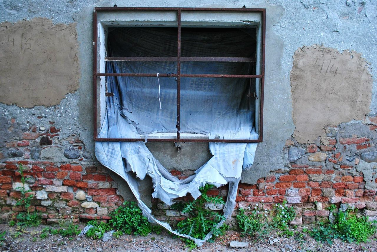 Architecture Building Exterior Built Structure Day Destroy House No People Outdoors Poorly Residential Building Security Bar Window Windows