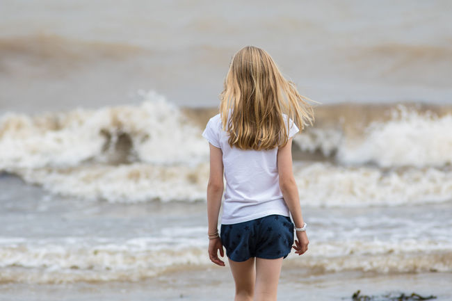 Blond Hair British Carefree Day England Filey Getting Away From It All Girl Holiday Little Girl Mindful Mindfulness Next To Sea Person Relaxing Relaxing Moments Sea Seaside Walking Water Waves Weekend Activities Yorkshire
