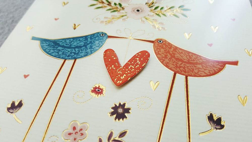 Blue Color Red Color Two Birds In Love In Love Heart Shape Love Studio Shot Celebration In Love ♡  Golden Heart Indoors  No People Things Around Me Art Photography Focus On Foreground Card Design Close-up Directly Above Wedding Wishes Good Luck Good Wishes Communication Wishes Heartbeat Moments Place Of Heart