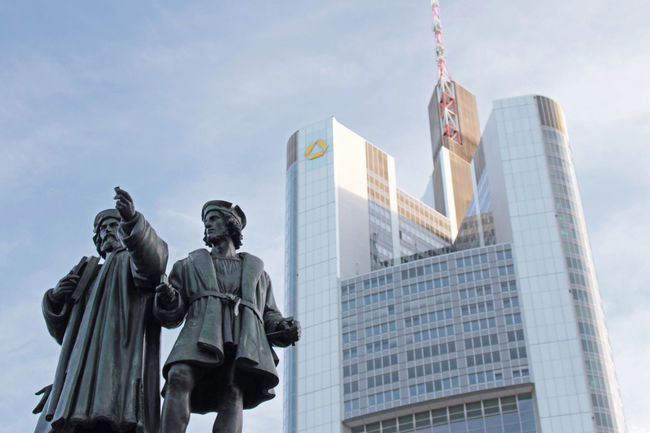 Architecture Building Built Structure City Cloud - Sky Commerzbank Tower High Section Low Angle View Sculpture Sky Skyscraper Statue Tall - High The Architect - 2016 EyeEm Awards