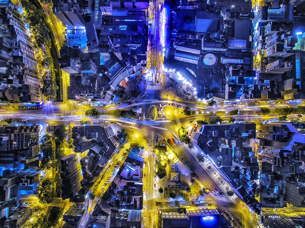 Directly Above View Of Illuminated Road Intersection In City At Night